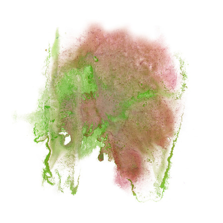 green ink: paint splash color pink green ink blue red watercolor isolated stroke splatter watercolour aquarel brush art Stock Photo