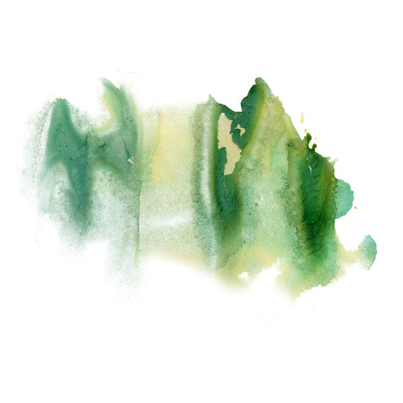 isolated spot: ink splatter watercolour green dye liquid watercolor macro spot blotch texture isolated on white