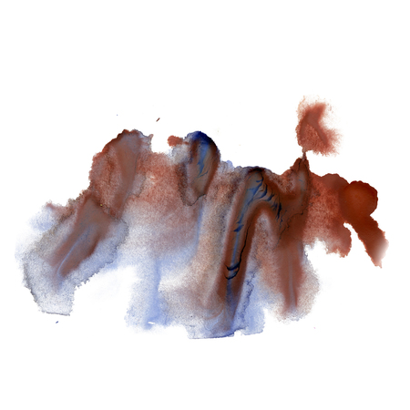 isolated spot: ink splatter watercolour dye blue brown liquid watercolor macro spot blotch texture isolated on white