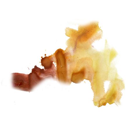 ink splatter watercolour dye liquid watercolor yellow brown macro spot blotch texture isolated on white Stock Photo