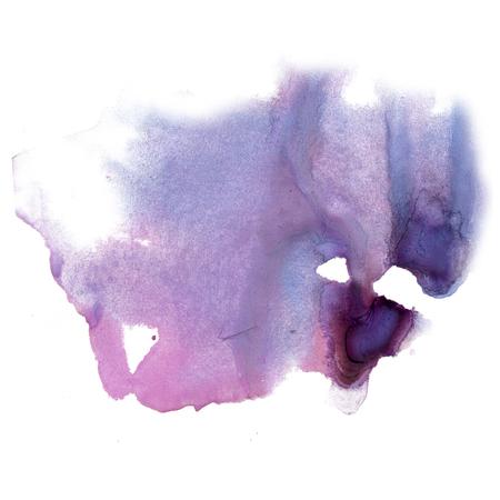 dabs: ink splatter watercolour dye purple liquid watercolor macro spot blotch texture isolated on white Stock Photo