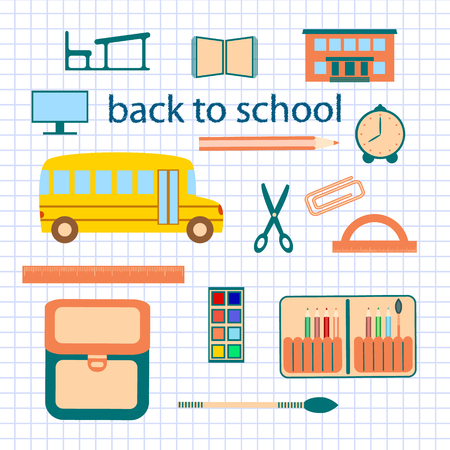 book case: Back to school background with stationary, building, school bus.