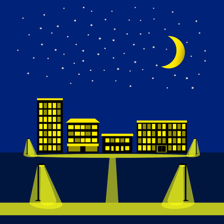 city night: Night sky with stars, moon and silhouette of city. Night city illustration with houses, buildings, block of flats. Background for kids illustration and baby card.