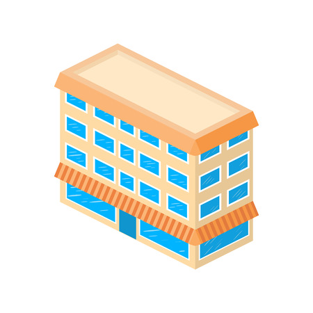 office block: Isometric building. House icon.