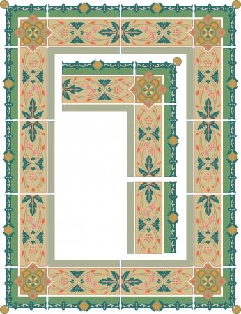 a7: Vintage border frame, vector thick blocks