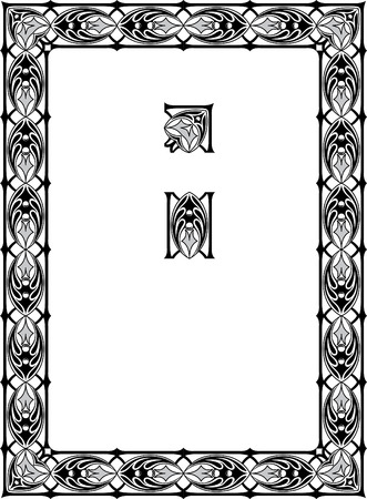 thick: Vintage border frame, vector thick blocks