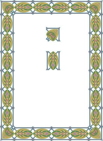Vintage border frame, vector thick blocks Vector