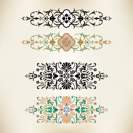 Set of vintage design elements in editable vector  Vector