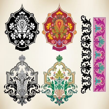Oriental style, decoration design elements