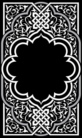 Ornamental eastern design, border frame, monochrome