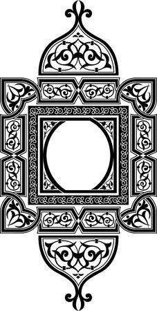 decoracion boda: Dise�o ornamental del este, monocromo Vectores