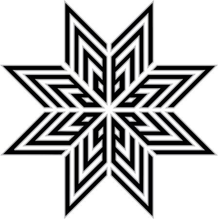 Oriental ornament star, monochrome Vector