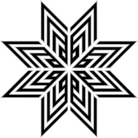 Oriental ornament star, monochrome