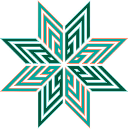 Oriental ornament star, colored