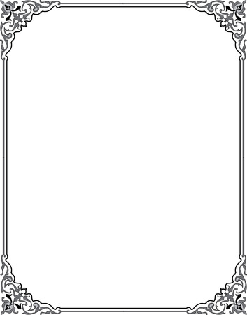 Damask flourish border frame Illustration