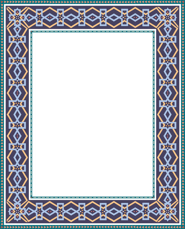 Oriental Damask border frame Vector