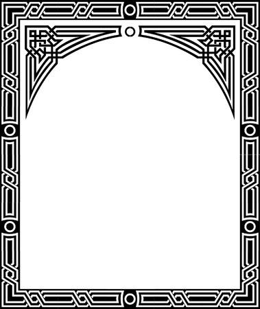 antique frames: Marco de la frontera del estilo isl�mico con l�neas vectoriales elegantes Vectores