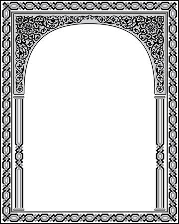 イスラム アラベスク風、繁栄の飾り、白黒と枠