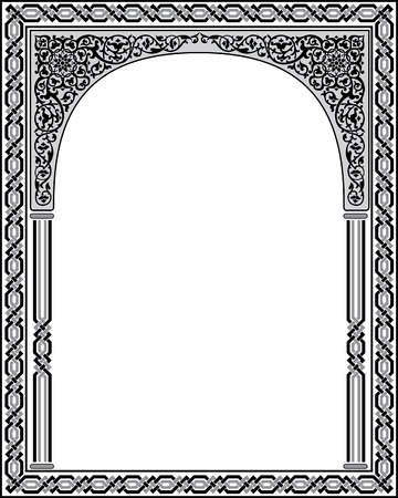 Islamic Arabesque style, border frame with flourish ornament, monochrome