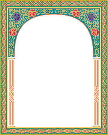 arabesque: Islamic Arabesque style, border frame with flourish ornament, colored Illustration