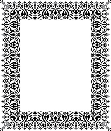 Ornamental eastern design, thick frame, monochrome Vector