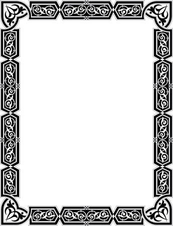 Islamic style border frame with elegant vector lines