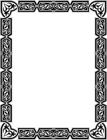 cenefas decorativas: Marco de la frontera del estilo isl�mico con l�neas vectoriales elegantes Vectores