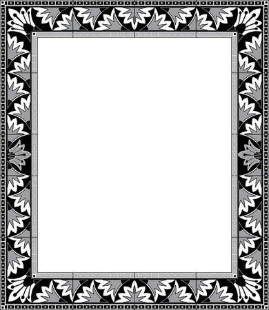 Oriental flourish border frame, monochrome