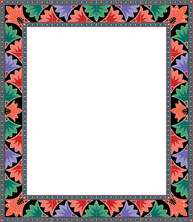 Oriental flourish border frame, colored Vector