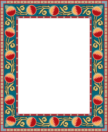 Ornamental eastern design, thick frame, colored Vector