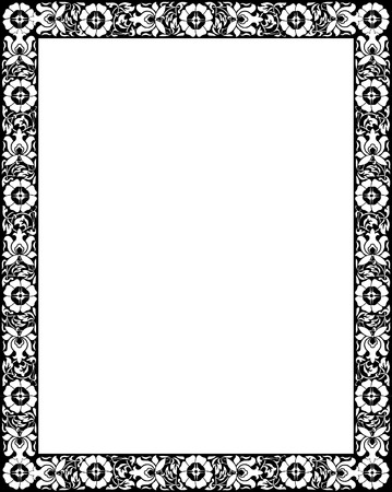 Flourish border frame, monochrome Vector
