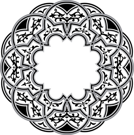 Islamic ornament circle design, monochrome Vector
