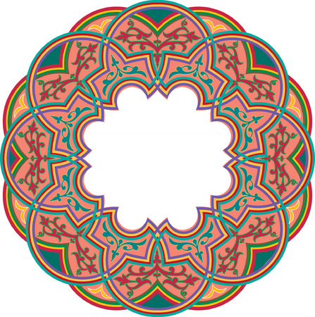 Islamic ornament circle design, colored
