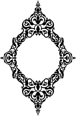 Ornamental eastern design, border frame, monochrome
