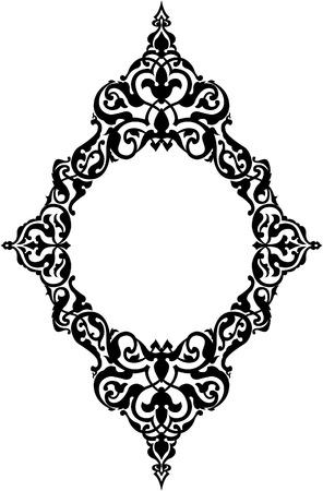 pattern: Sier oostelijke ontwerp, grens kader, monochroom Stock Illustratie
