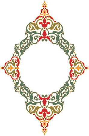 Ornamental eastern design, border frame, colored Illusztráció
