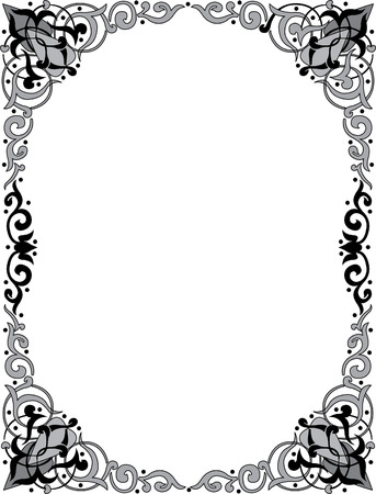 oriental: Oriental ornament photo frame, monochrome