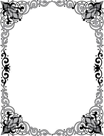 Oriental ornament photo frame, monochrome Stock Vector - 23185901