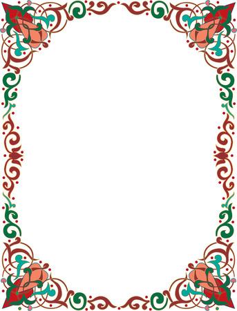 Oosters ornament fotolijst, gekleurd Stock Illustratie