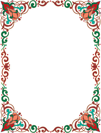 Oriental ornament photo frame, colored