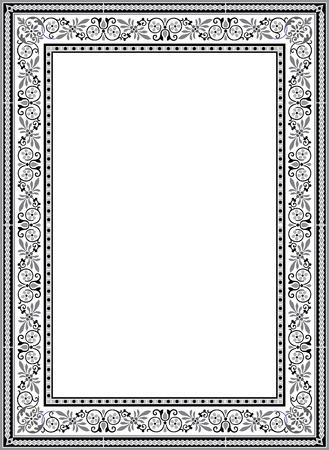 花飾り枠、モノクロ