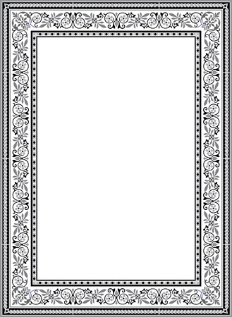 floral ornament border frame, monochrome 向量圖像