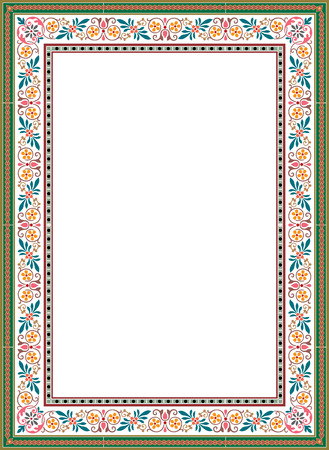 floral ornament grens frame, gekleurd Stock Illustratie