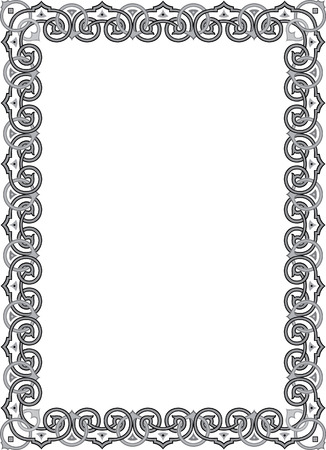 lines: Classical ornament photo frame, monochrome Illustration