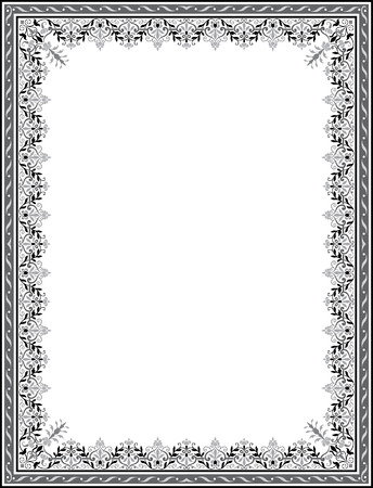 cenefas decorativas: Marco de la frontera del ornamento floral detallado