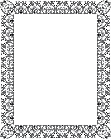 Detailed floral ornament border frame, monochrome Vector