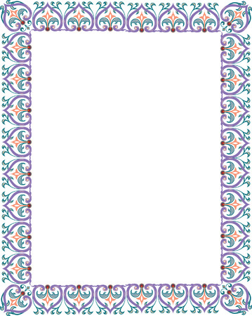 Detailed floral ornament border frame, colored Vector