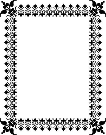Oriental flourish thick border, monochrome Vector