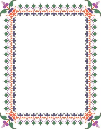 a4 borders: Oriental florecer borde grueso, de color