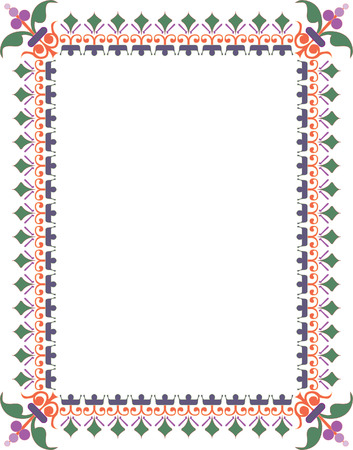 Oriental flourish thick border, colored Vector